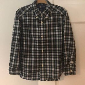 Ralph Lauren 3/3T Button Down Navy/Green Plaid